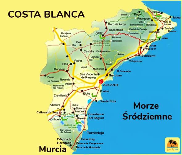 Mapa Costa Blanca - wybrzeża Hiszpanii nad Morzem Śródziemnym
