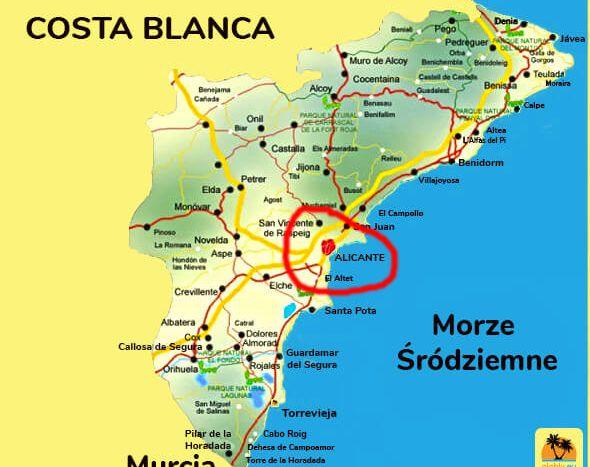Mapa wybrzeża Costa Blanca.